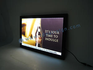 China supplier of personalized acrylic lighted box display slim lighted beer signs for wholesale