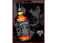 Jack Daniels Sinal da barra de azulejos com moldura de madeira