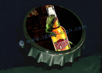 Bar Top Bottle Opener with metal Crown cock top display