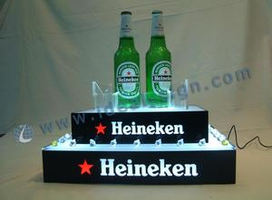 Custom made led tiered bottle display lighted liquor display for wholesale