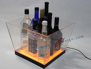 Personalized acrylic led beer buckets plastic party beverage tubs for bars and night clubs/