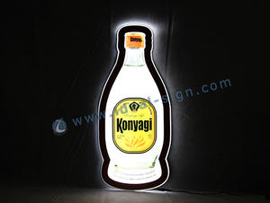 Wholesale custom bottle shape slim led illuminated sign led crystal light box