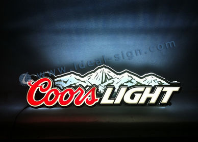 Coors Wall Signs luminosi si accendono in acrilico LED per la birra Promozione e Brand Advertising