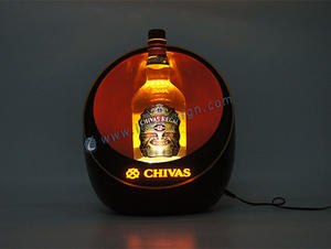 Custom made lighted acrylic Chivas bottle display led liquor display for wholesale