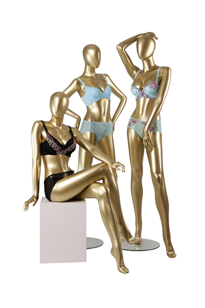 Egg head sexy underwear bikini swimwear display female gold colored mannequin in dubai