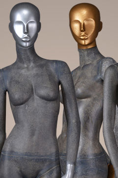Fiber glass full body vintage beautiful abstract female posing store mannequins sale