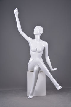 Life size fashion manikin glossy white female sitting mannequin full body jewelry display set