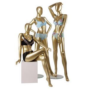 Sitting and standing gold mannequin painting body nude female chest mannequins for bikini display