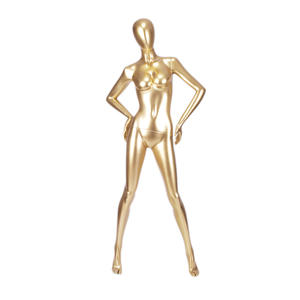 Factory custom made eco-friendly abstract egg head adjustable female gold mannequins