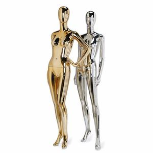 Abstract fiberglass colorful gold display female chrome plating electroplating mannequins female chrome mannequins