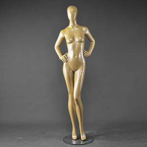 High end glossy yellow color plastic full body female mannequins fashion adjustable female mannequins
