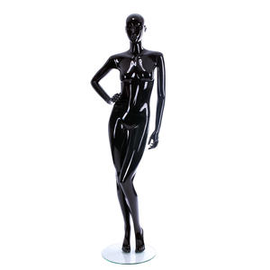 Hot glossy black color apparel fiberglass garment display full body female fashion dummy for sale(BFM series black female mannequin)
