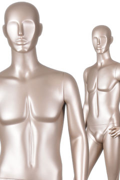 Full body gold male abstract mannequin for window display