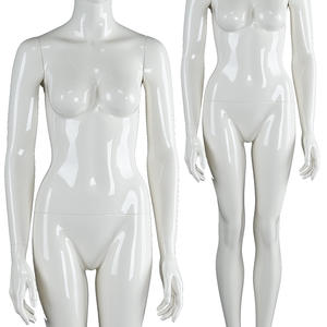 Glossy white fashion fiberglass mannequins movable full body female showcase mannequin with head