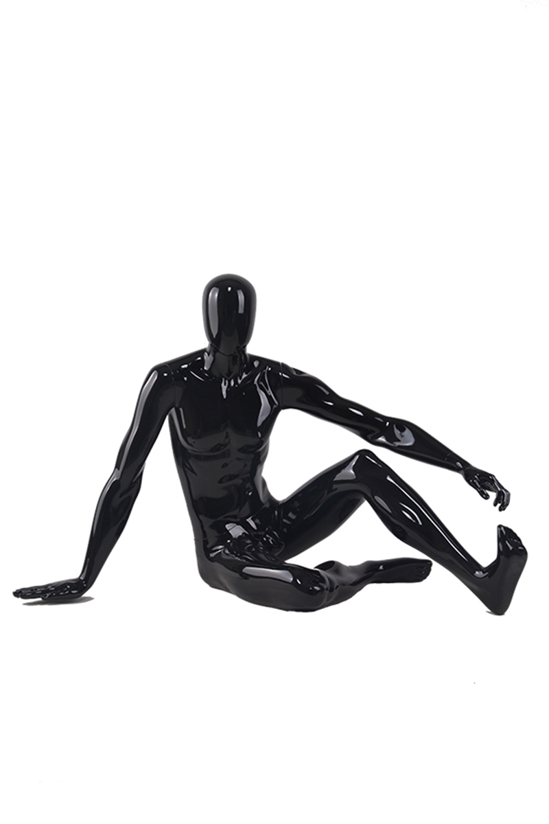 Fashion Customized Fiberglass Glossy Black Mannequin Full Body Male Mannequins