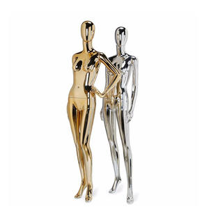 Abstract colorful gold display female chrome plating electroplating mannequins silver female mannequin