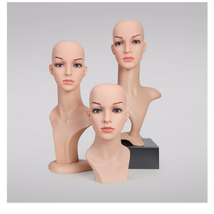 Fashion mannequin head with shoulders for wigs display