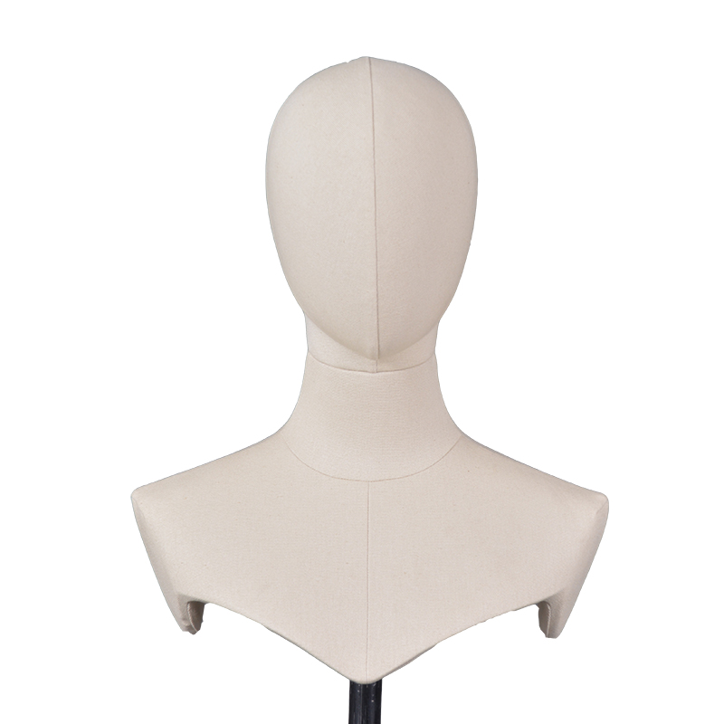 High quality fabric linen abstract head mannequins with stand for sale (QMH)