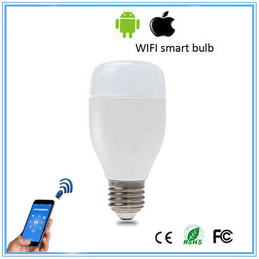2016 Fashionable model RGBW LED light E27 color changing wifi smart lamp smart LED bulb