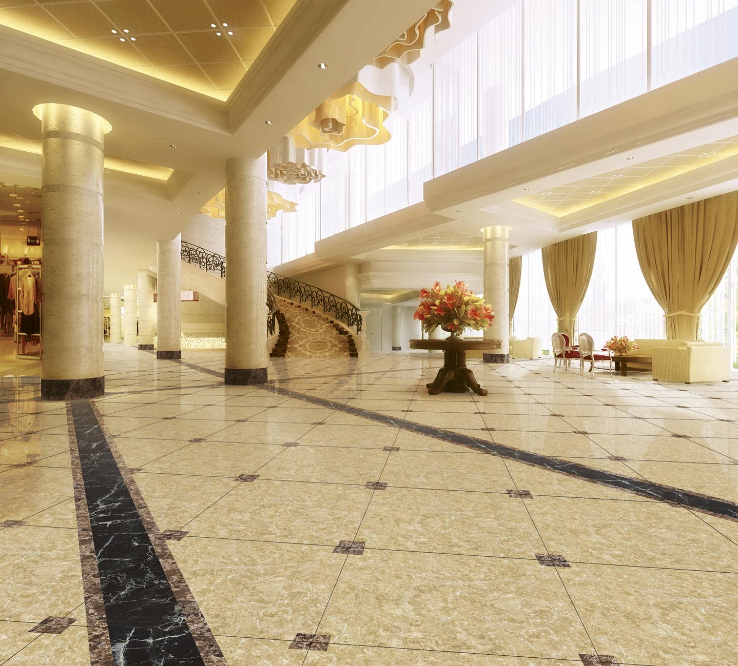 inkjet polished marble floor tile