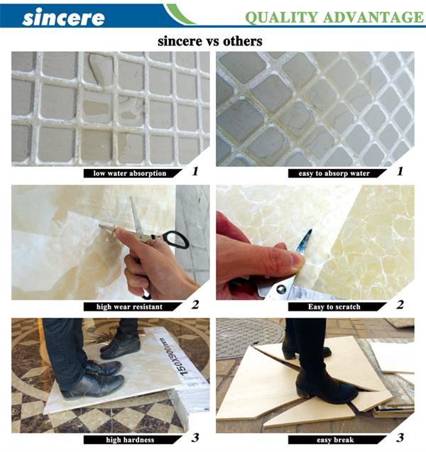 glazed porcelain marble tile quality