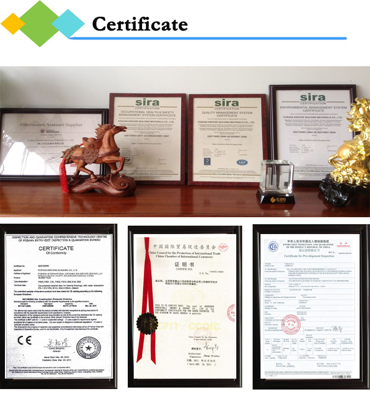 glazed porcelain tile certificated