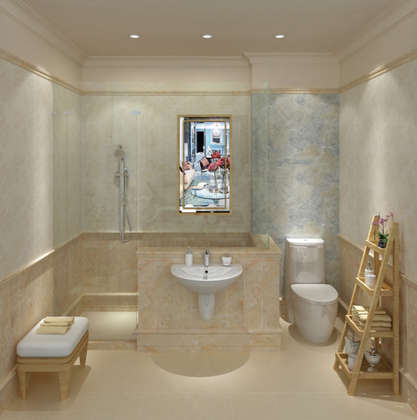 new design bathroom look marble porcelain tiles wall