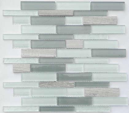 Subway black white mix crystal glass mosaic tile