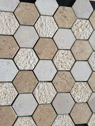 Light emperador marble hexagon mosaic tile brown