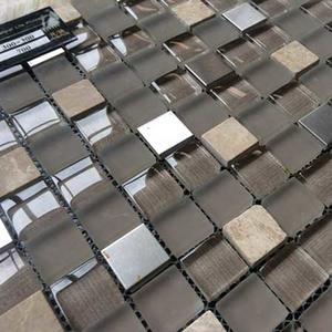 Glass mosaic floor tile bathroom