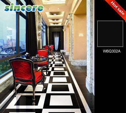 W6Q302B Super Black porcelain floor tiles 600x600