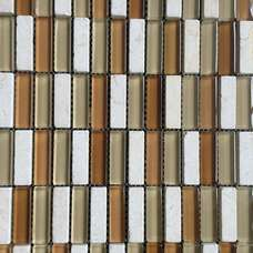 mix color glass stone strip mosaic tile