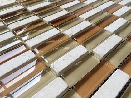 mix color glass stone strip mosaic tile