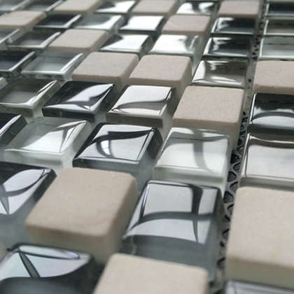 glass mix stone bathroom tile mosaic