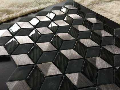 Black and silver ceramic mosaic tile