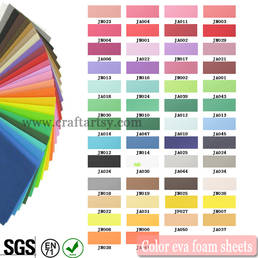 Color chart for EVA foam sheets