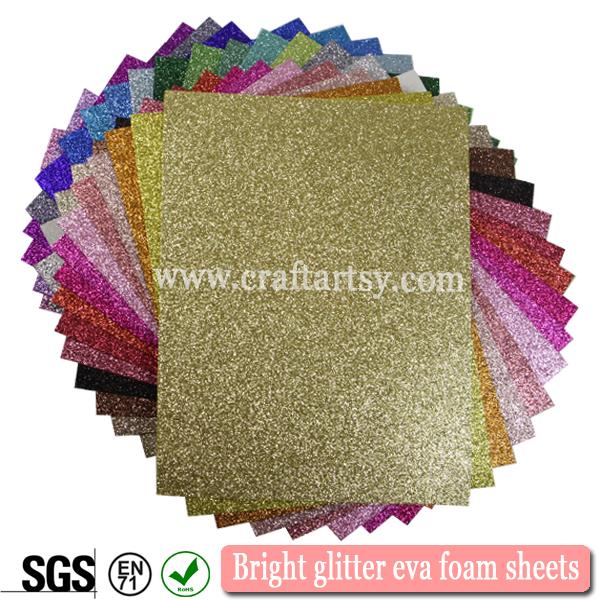 Multi color glitter eva foam/2mm colorful glitter foam sheet/A4 size ...