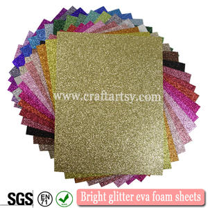 Multi color glitter eva foam/2mm colorful glitter foam sheet/A4 size  single sided adhesive glitter eva foam