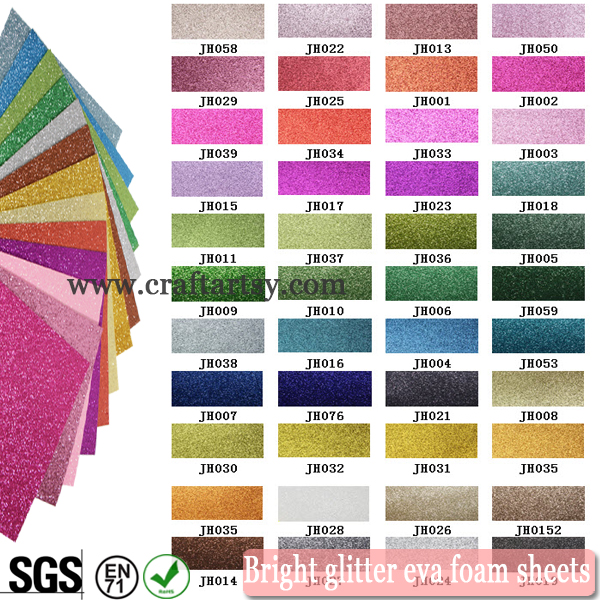 color chart for bright glitter eva foam sheet