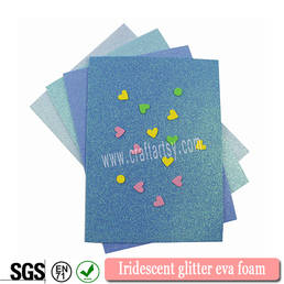 Iriserende glitter eva foam blad met of zonder sticker