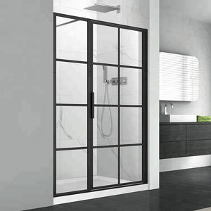 FBA121 Black Gride Framed Glass Shower Door Design