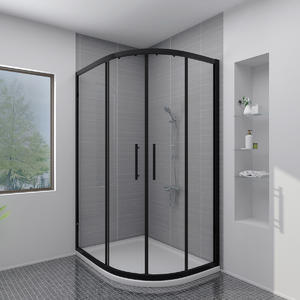 Matt black roller door offset quadrant shower enclosure