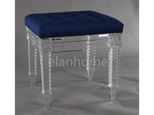 acrylic stool with blue cushion C101