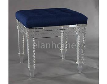 acrylic stool with blue cushion C101