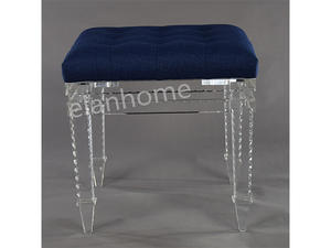 crystal acrylic stool with blue cushion-C102