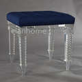 crystal acrylic stool with blue cushion C102