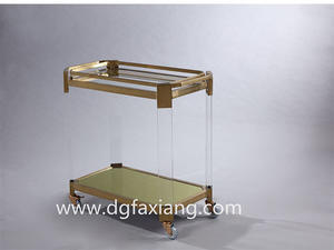 fashion acrylic trolley with metal stand modern acrylic trolley  acrylic