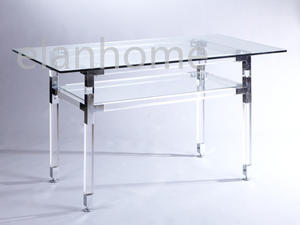 modern dining table with silver +dia 40 acrylic square -tempered glass