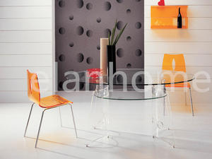 ellipse dinning table with acrylic legs