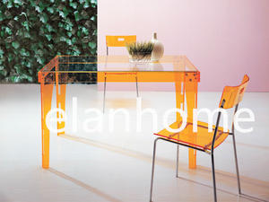 simple dinning table with color acrylic legs